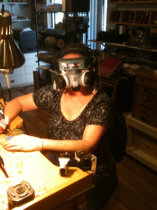 Here I'm engraving glass and grooving to NPR